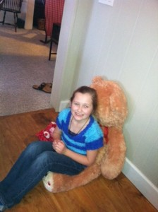 Morgan with her teddy